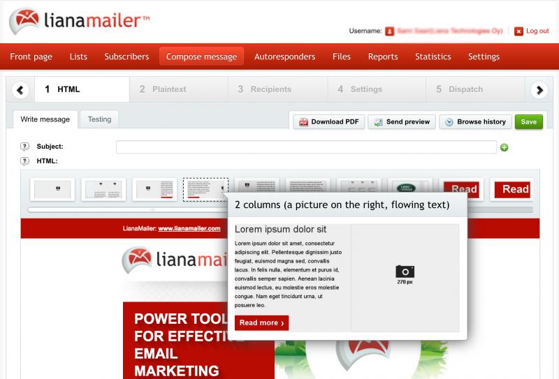 專為內部使用而設的現代電子郵件營銷工具及其拖放界面。