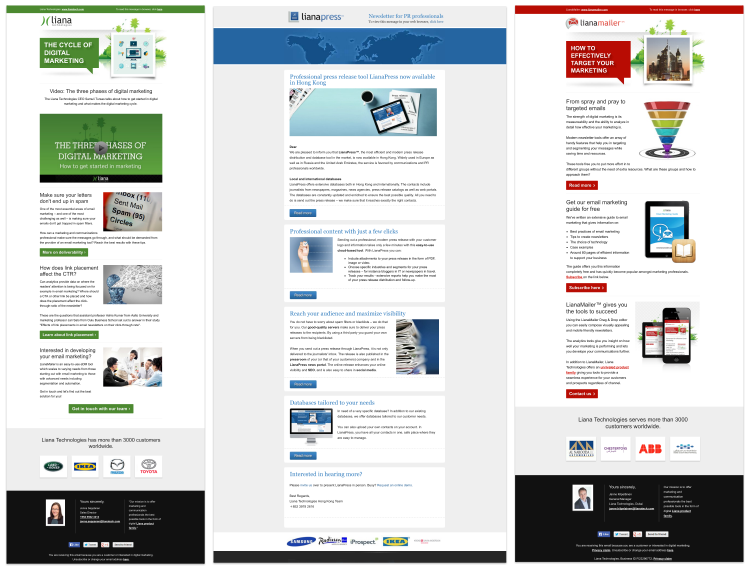Liana Technologies為不同的目標群體使用不同的模板。