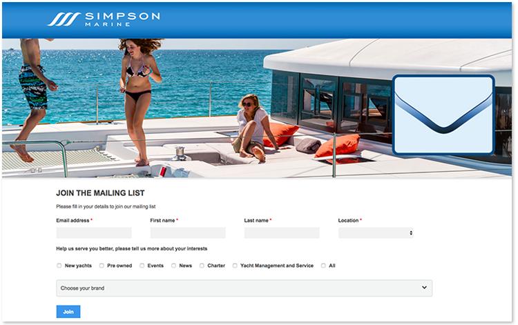 Simpson Marine的通訊訂閱表格詢問用戶的興趣。