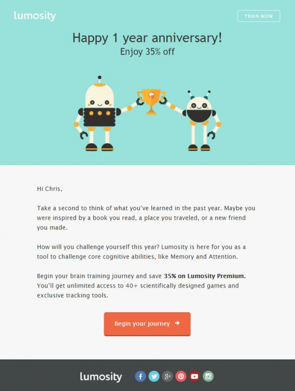 Long-term customer relationships are particularly valuable, which is why it's good to show gratitude at the customership anniversary. Brain games application Lumosity remembers customers on their first anniversary by offering a discount on additional services.