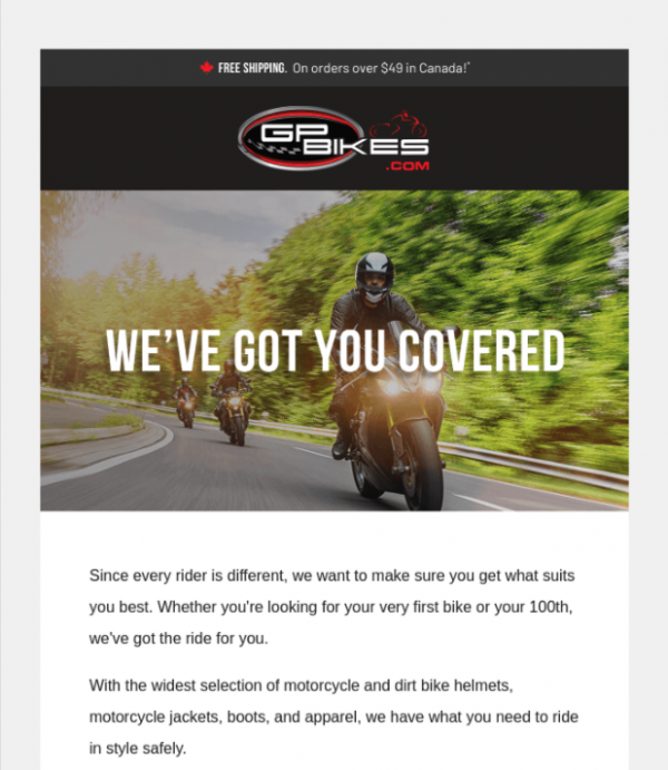 newsletter subject line example GP Bikes
