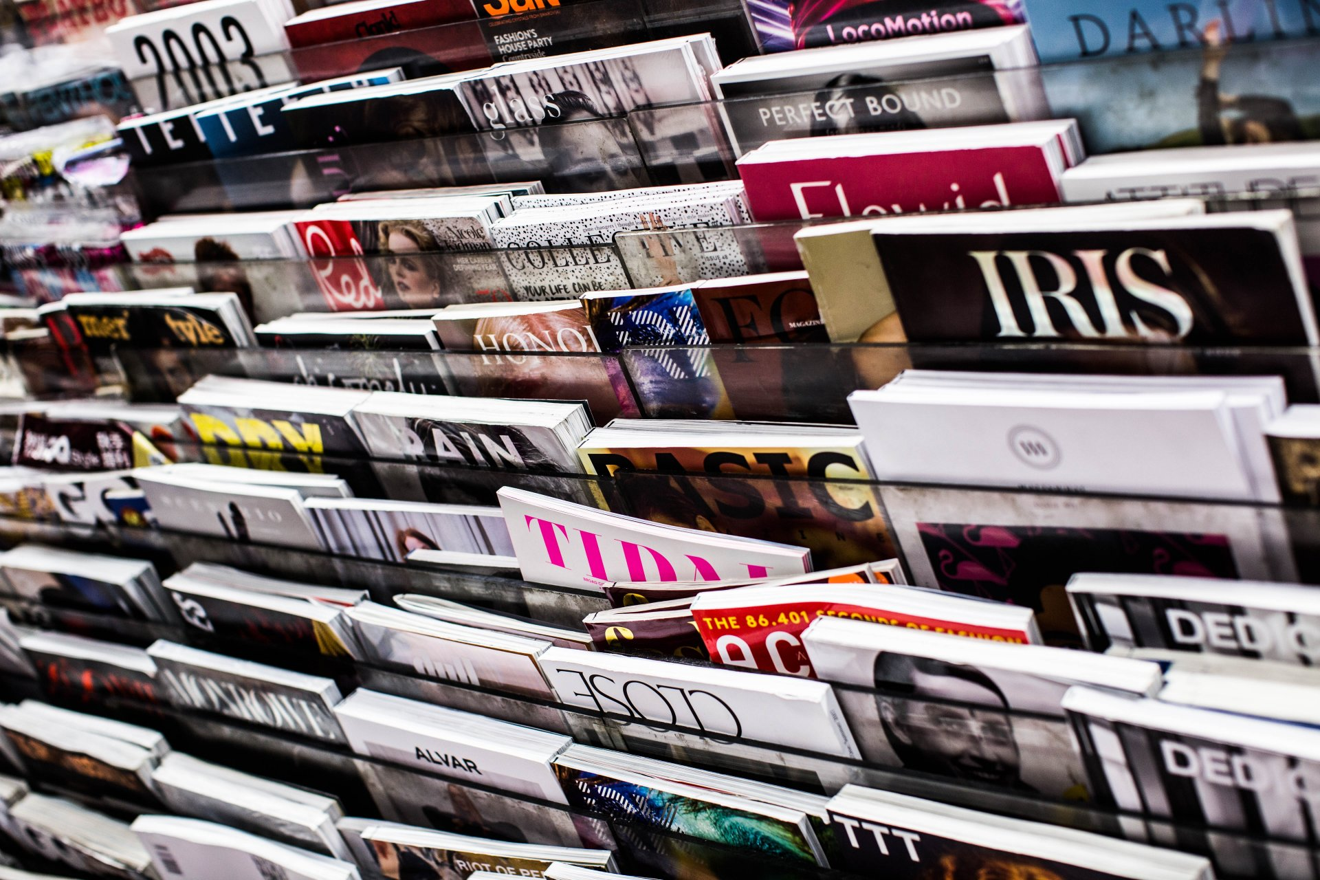 Magazines on a stand