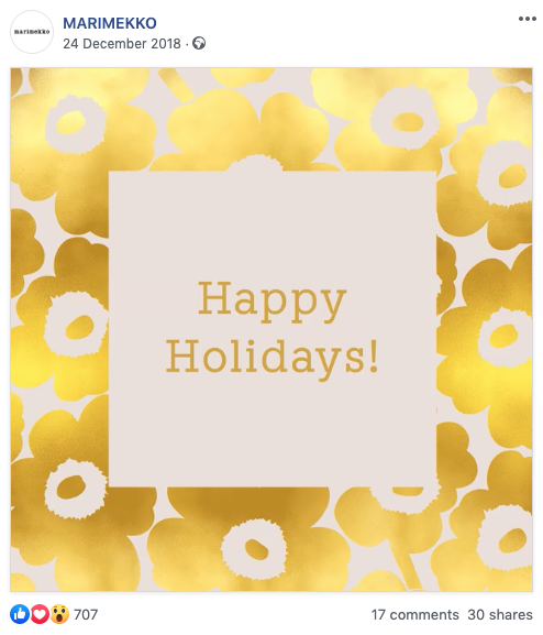 Finnish design brand Marimekko's season's greeting on Facebook is simple, festive and very loyal to the brand.