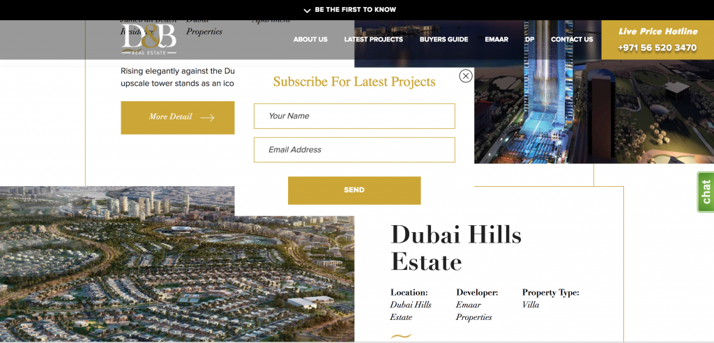 Pop up form for lead generation in the real estate sector