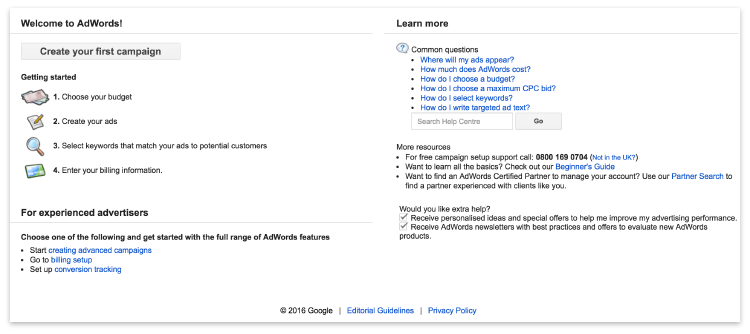Getting started in AdWords
