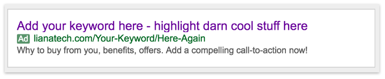 Google AdWords ad example with keywords