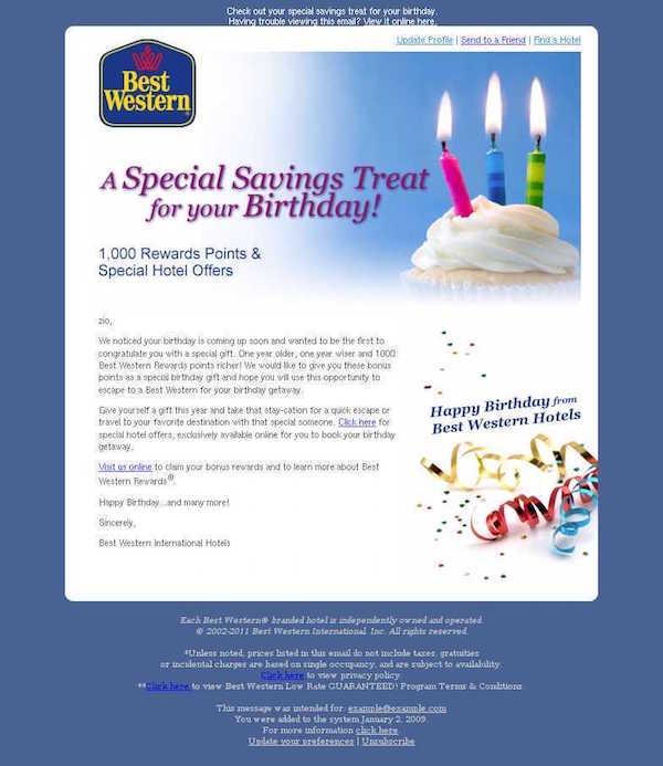 Image: Best Western Birthday Offer