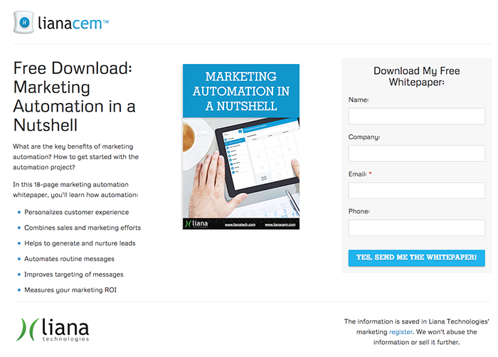 Marketing automation platform LianaCEM landing page