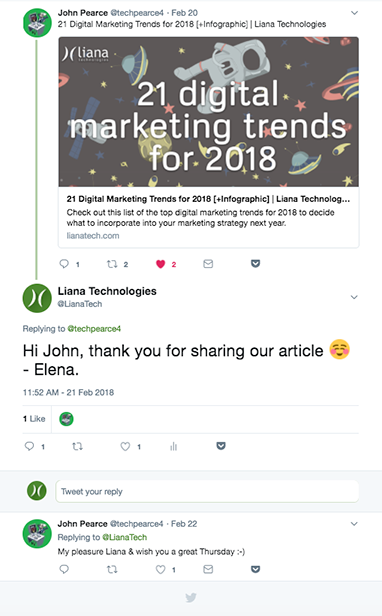 Social media mention Liana Technologies