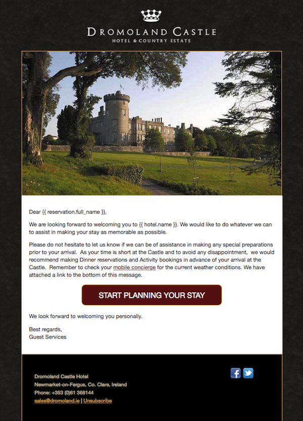Image: Pre-Stay Email from Dromoland Castle