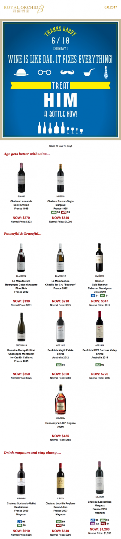 Newsletter by Royal Orchid Wine: Wine is like dad, it fixes everything