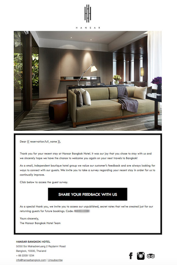 Image: Post-stay Email from Hansar Bangkok