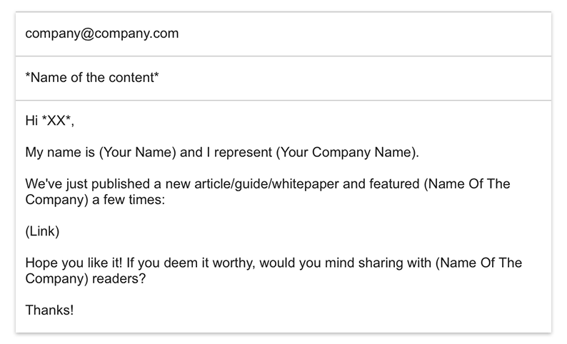 Reach the person you mention in your content using this email template