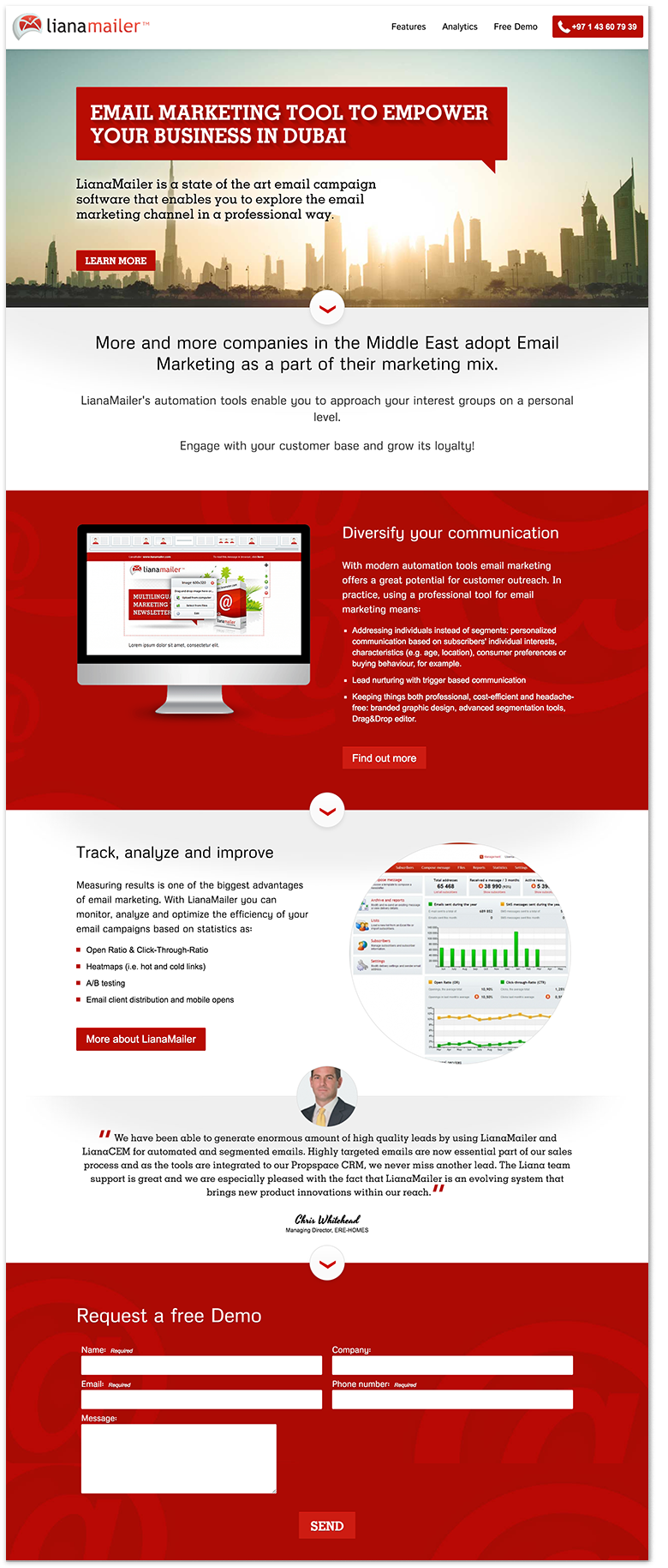 The landing page of the email marketing tool targeted to Dubai audience