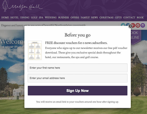 Image: Pop-Up Form Hotel Newsletter