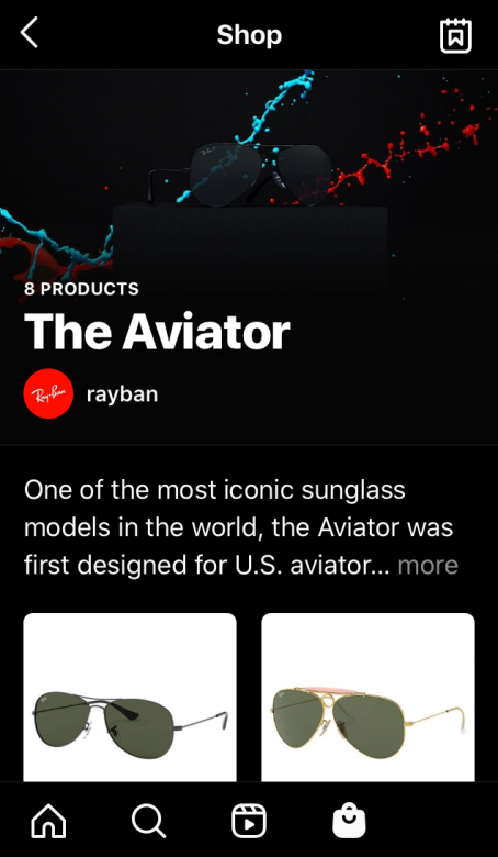 Instagram Shops example by Ray-ban