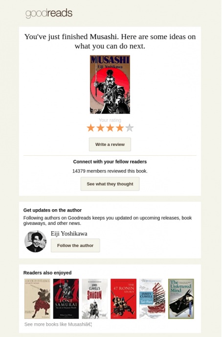 Personalized recommendation example by Goodreads