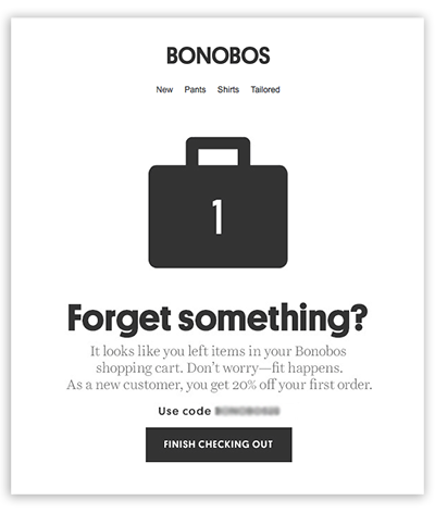 an abandoned carts reminder by Bonobos encouraging to complete a purchase