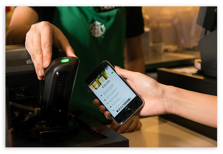 Mobile payment at a Starbucks restaurant
