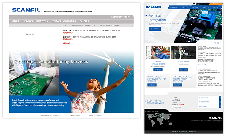 Scanfil website was completely redesigned by Liana