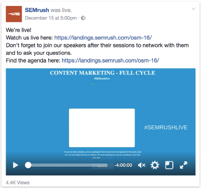 SemRush Facebook Live
