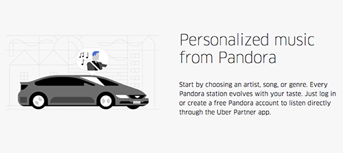 personalized music by Uber and Pandora is an example of using the Internet of Things by leading brands.