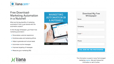 marketing automation whitepaper landing page by LianaCEM