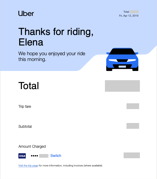 Uber confirmation email example