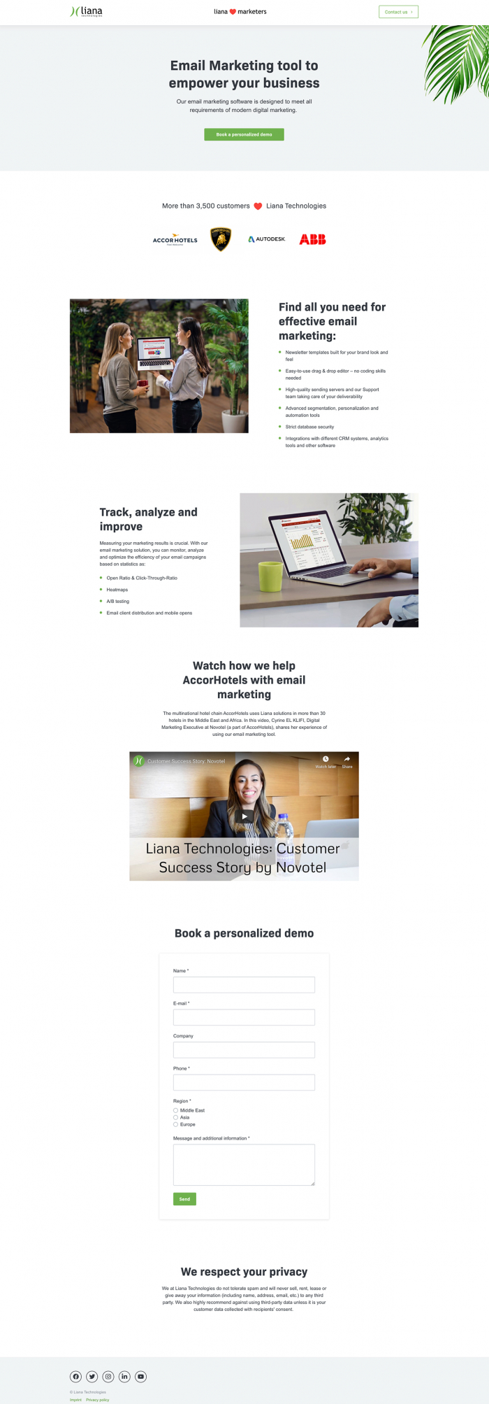 saas product landing page example by liana technologies