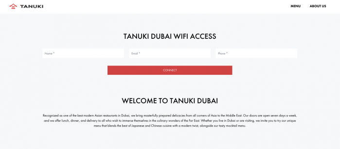Wi-Fi landing page example