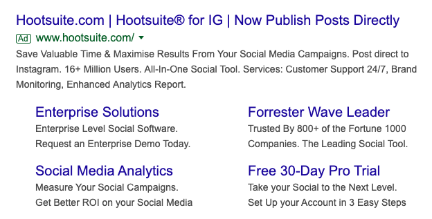 hootsuite search result