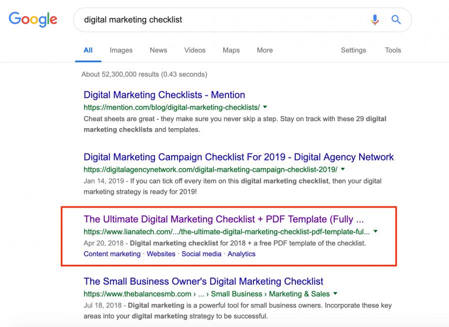 Digital Marketing Checklist Google Search Results