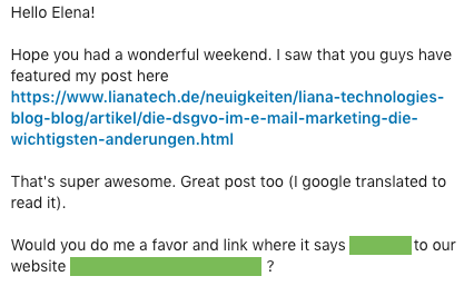 Link Reclamation email example