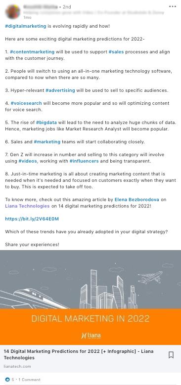 Liana Technologies mention on LinkedIn