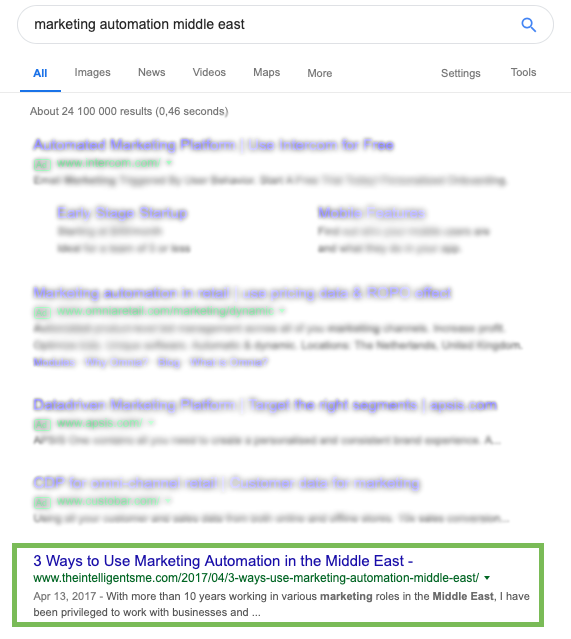 Marketing Automation Middle East: organic Google search results